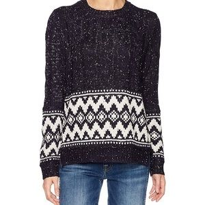 Moon River Anthro Navy and White Knit Sweater
